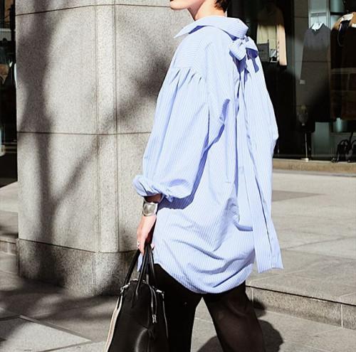 ストライプシャツ ブルー